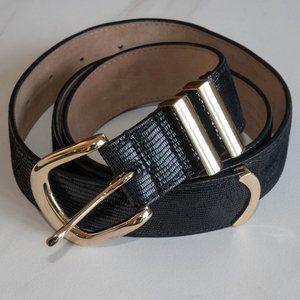 Black Snake Print Genuine Leather Belt
